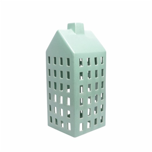 House Shaped Decorative Ceramic Candle Lantern, Blue Perspective: front