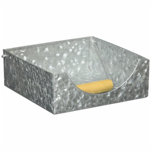 3 x 7 x 7 in. Galvanized Metal Napkin Holder with Fitted Handle - Gray Perspective: front