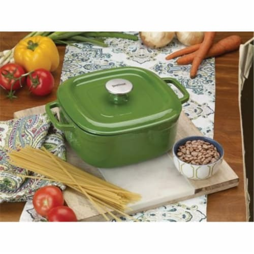 4 qt. Casserole Dish with Lid Enameled Cast Iron, Green Perspective: front