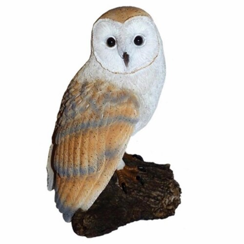 Michael Carr Barn Owl On Stump Resin Statue Perspective: front