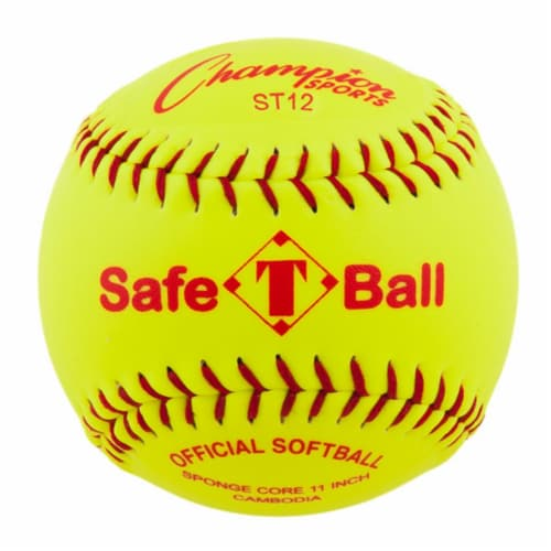 12 in. Safety Softball, Optic Yellow & Red Perspective: front