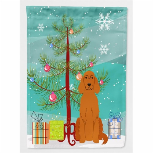 Merry Christmas Tree Irish Setter Flag Garden Size Perspective: front