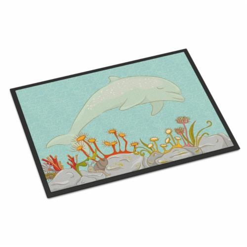 Dolphin Underwater Scene Indoor or Outdoor Mat - 18 x 27 in. Perspective: front