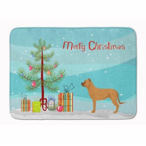 Alano Espanol Spanish Bulldog Christmas Machine Washable Memory Foam Mat Perspective: front