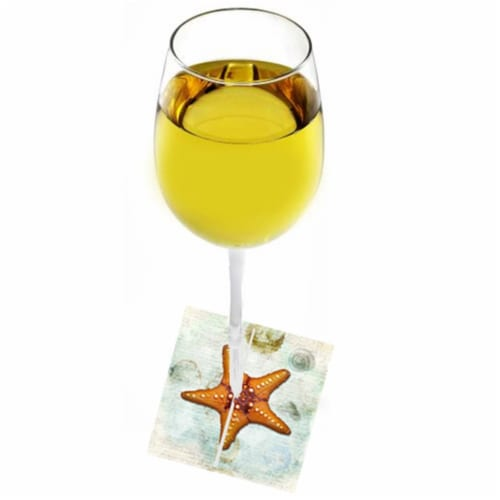 Starfish Fabric Wine Marker Perspective: front