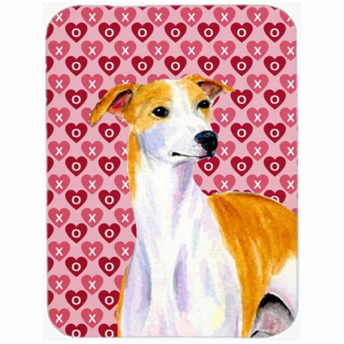 15 x 12 in. Whippet Hearts Love and Valentines Day Portrait Glass Cutting Board - Large Perspective: front