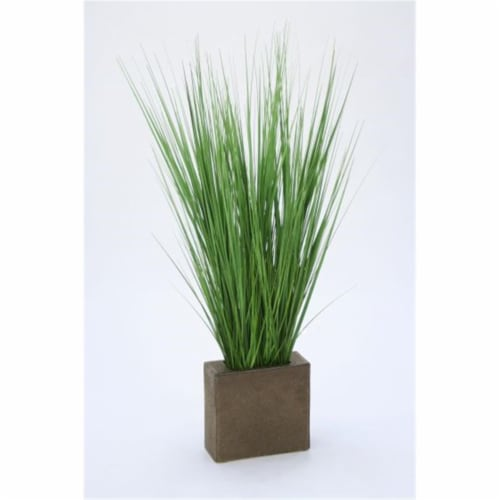 Distinctive Designs 2924C Grass in Rectangle Metal Planter - Greens Perspective: front
