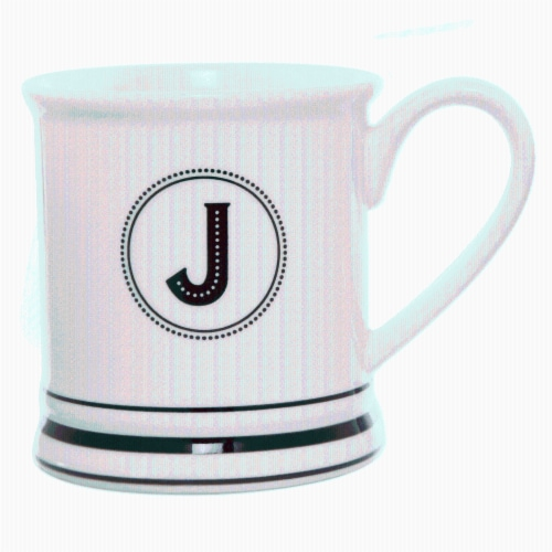 PMI Worldwide Barber Shop Monogrammed Mug - White/Black Perspective: front