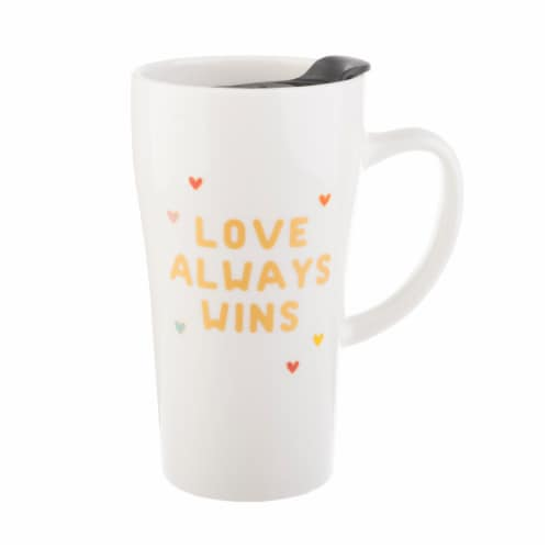 Pacific Market International Love Always Wins Latte Mug with Lid - White Perspective: front