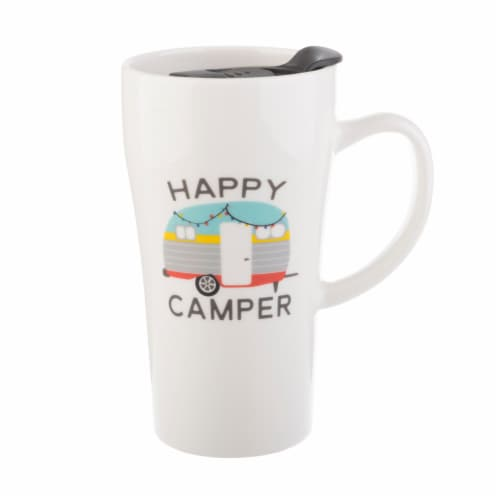Pacific Market International Happy Camper Latte Mug with Lid - White Perspective: front