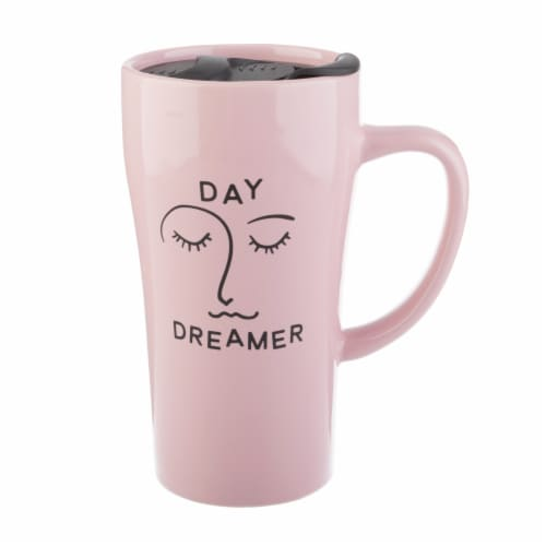 Pacific Market International Day Dreamer Latte Mug with Lid - Pink Perspective: front
