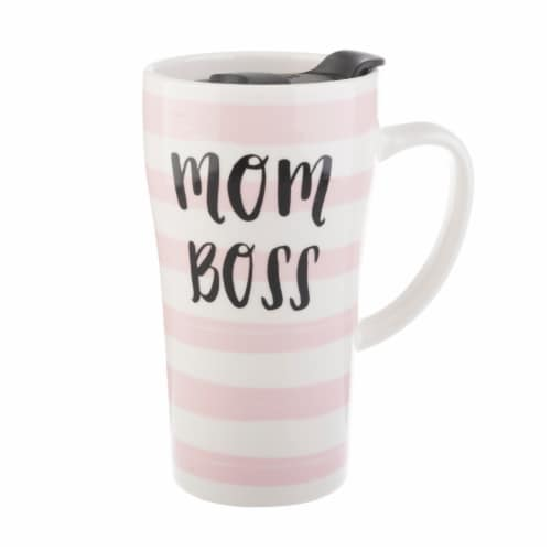 Pacific Market International Mom Boss Latte Mug with Lid - Pink/White Perspective: front