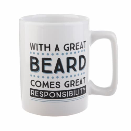 Pacific Market International Great Beard Square Handle Mug - White/Blue Perspective: front
