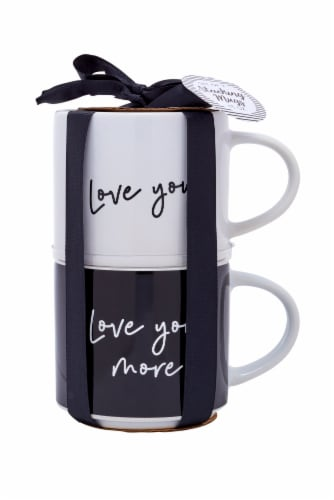 Pacific Market International Love You/Love You More Stacking Mugs - 2 Pack Perspective: front