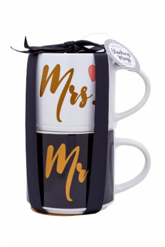 Pacific Market International Mr./Mrs. Stacking Mugs - 2 Pack Perspective: front