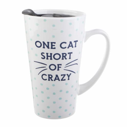 Pacific Market International One Cat Short Latte Mug with Lid - White/Blue Perspective: front