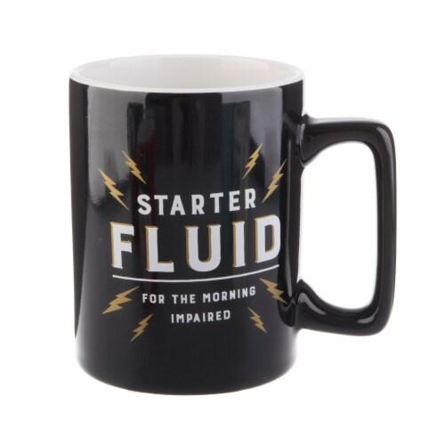 Pacific Market International Starter Fluid Square Handle Mug - Black Perspective: front
