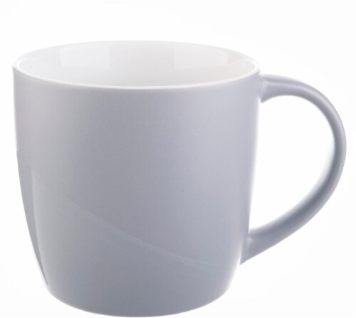 Pacific Market International Short Barrel Matte Mug - Shiny Gray Perspective: front
