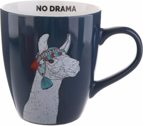 Pacific Market International No Drama Llama Jumbo Mug - Navy Blue Perspective: front