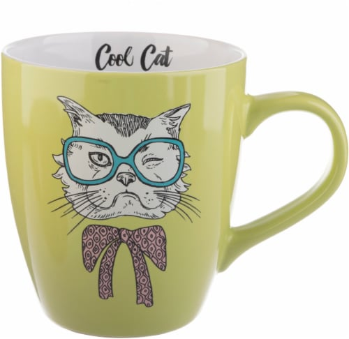 Pacific Market International Jumbo Cool Cat Mug - Yellow Perspective: front