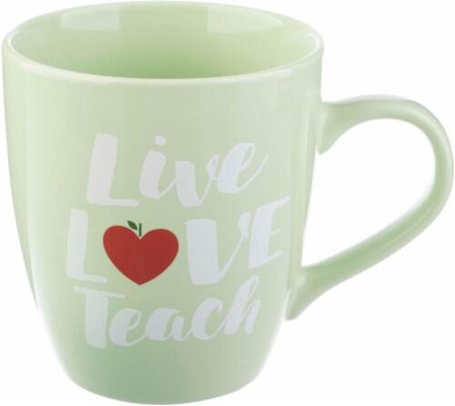 Pacific Market International Live Love Teach Jumbo Mug - Light Green Perspective: front