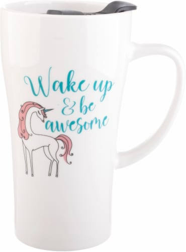 Pacific Market International Wake Up & Be Awesome Latte Mug and Lid 16 oz Perspective: front