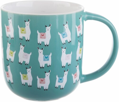 Pacific Market International Llama Flare Mug - Blue Perspective: front
