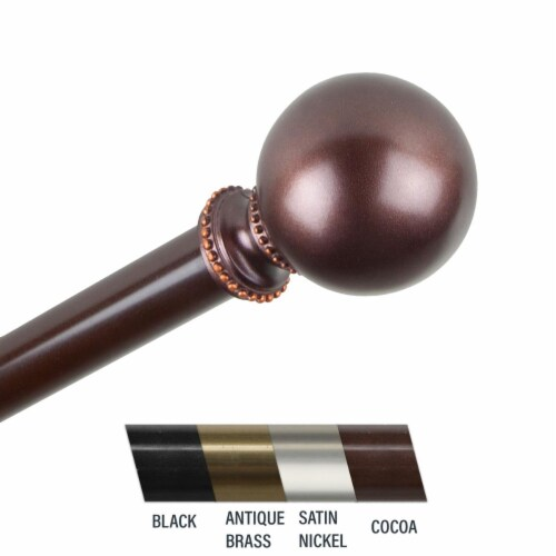 Central Design 4883-487 Julian 0.81 in. Curtain Rod, 48-84 in. - Cocoa Perspective: front