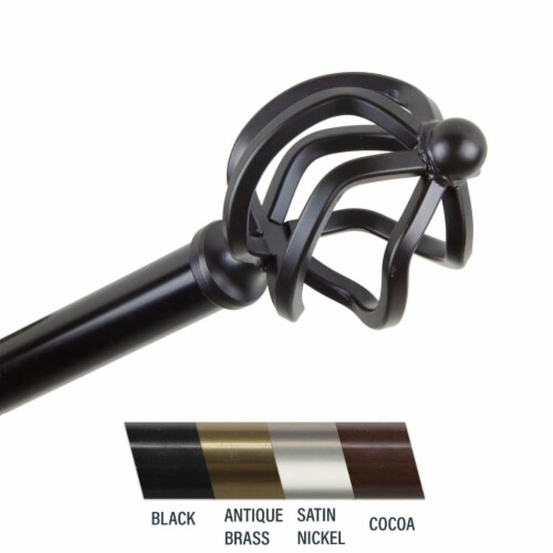 Central Design 4842-282 Giro 0.81 in. Curtain Rod, 28-48 in. - Black Perspective: front