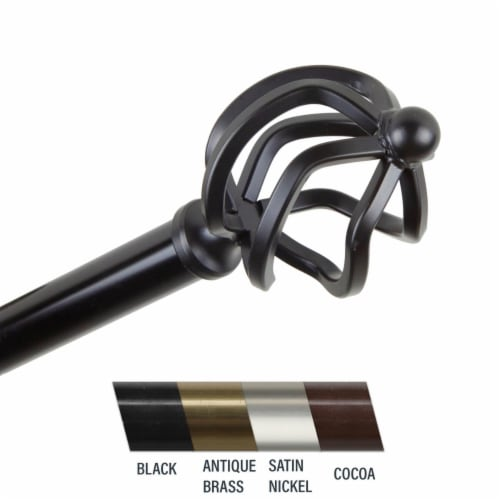 Central Design 4842-482 Giro 0.81 in. Curtain Rod, 48-84 in. - Black Perspective: front