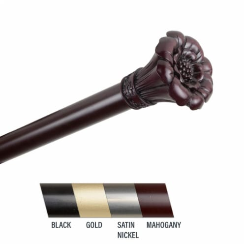 Central Design 100-02-666 Flora 1 in. Curtain Rod, 66-120 in. - Mahogany Perspective: front