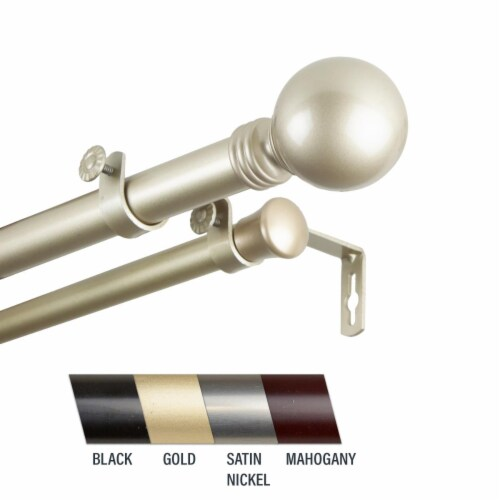 Central Design 100-01-993-D Globus 1 in. Double Curtain Rod, 120-170 in. - Gold Perspective: front