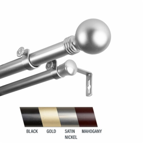 Central Design 100-01-485-D Globus 1 in. Double Curtain Rod, 48-84 in. - Satin Nickel Perspective: front