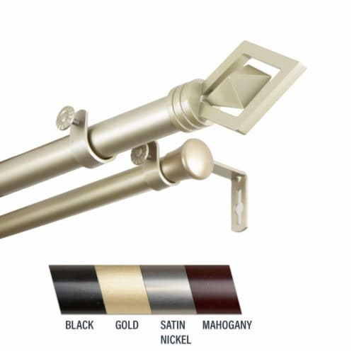 Central Design 100-69-1603-D Lance 1 in. Double Curtain Rod, 160-240 in. - Light Gold Perspective: front