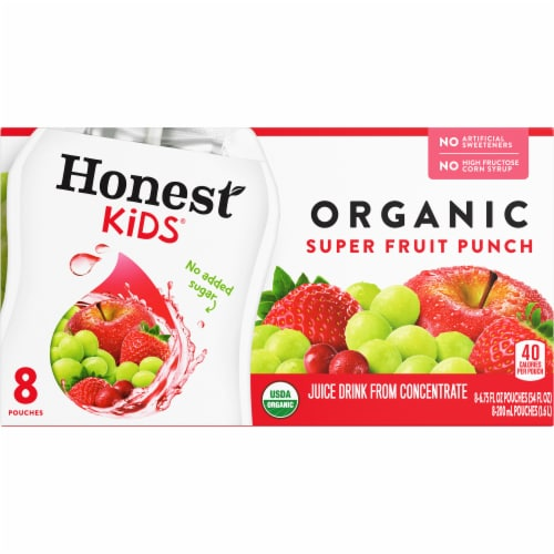 Honest Kids Organic Super Fruit Punch Juice Drink Perspective: front