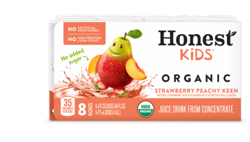 Honest Kids Organic Strawberry Peachy Keen Juice Perspective: front