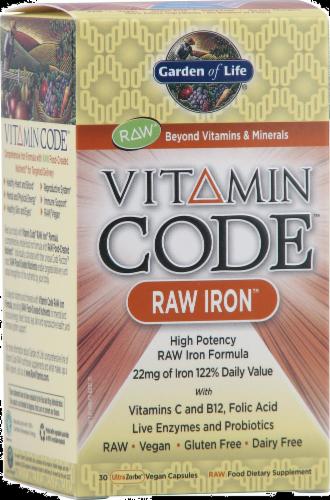 Garden of Life Vitamin Code Raw Iron Vegan Capsules Perspective: front