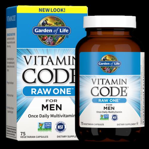 Garden of Life Vitamin Code Raw One for Men Vegan Capsules Perspective: front