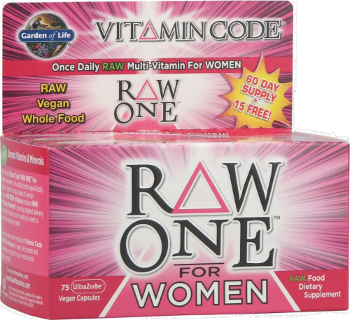 Garden of Life Vitamin Code Raw One for Women Vegan Capsules Perspective: front
