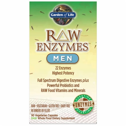 Garden of Life Raw Enzymes for Men Vegetarian Capsules Perspective: front