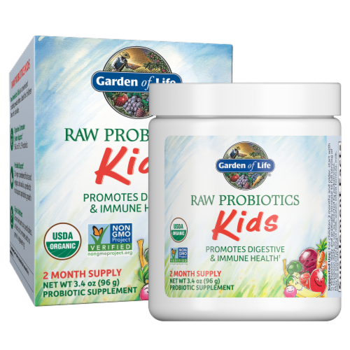 Garden of Life Raw Probiotics Kids Whole Food Dietary Supplement Perspective: front