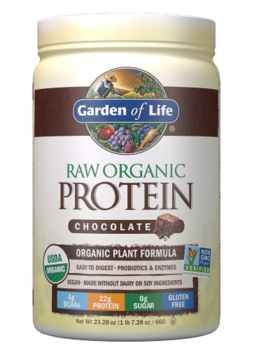 Garden of Life Raw Organic Chocolate Protein Powder Perspective: front