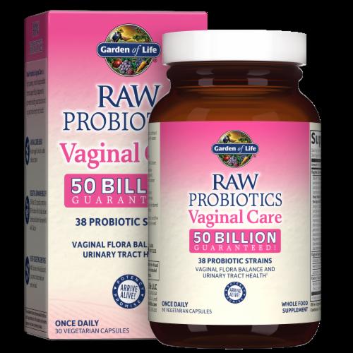 Garden of Life Raw Probiotics Vaginal Care Vegetarian Capsules Perspective: front