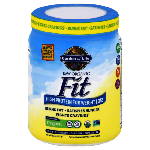 Garden of Life Fit High Protein Original Whole Food Dietary Supplement Powder Perspective: front