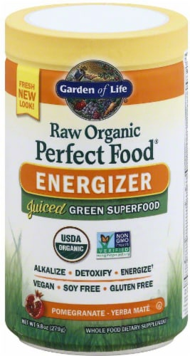 Garden of Life Perfect Food Raw Organic Energizer Juiced Green Superfood Powder Perspective: front