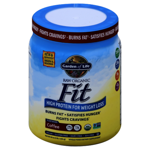 Garden of Life Raw Organic Fit Coffee Protein Powder Perspective: front