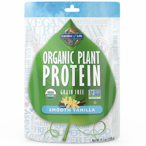 Garden of Life Organic Smooth Vanilla Plant Protein Powder Perspective: front