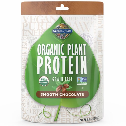 Garden of Life Organic Plant Smooth Chocolate Protein Powder Perspective: front