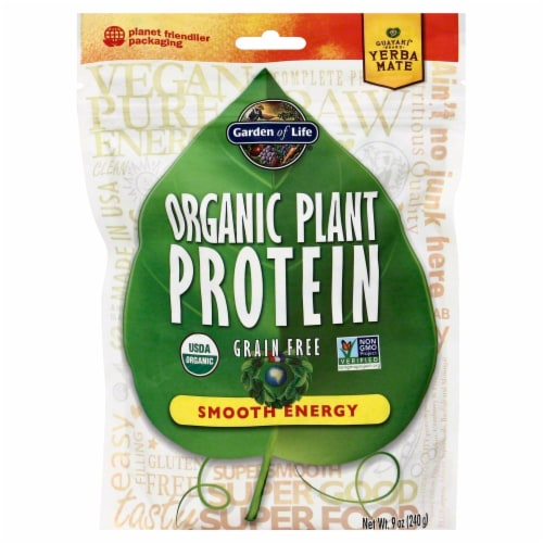Garden of Life Organic Plant Protein Gluten Free Smooth Energy Powder Perspective: front