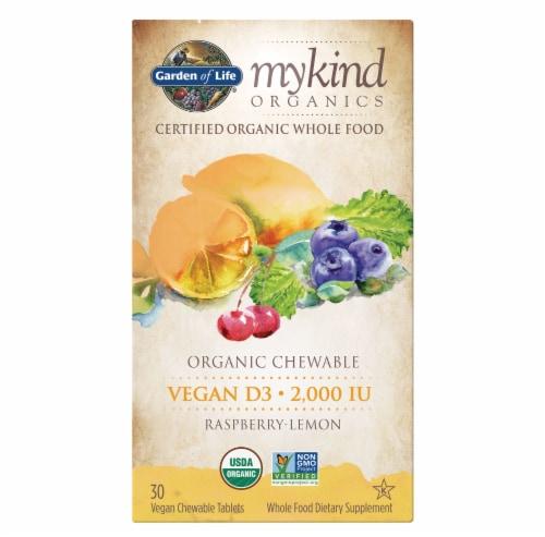 Garden of Life Mykind Organics Raspberry Lemon Vegan D3 2000IU Chewable Perspective: front